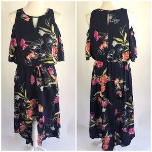 Apt. 9 Floral Print Cold Shoulder Hi Low Dress